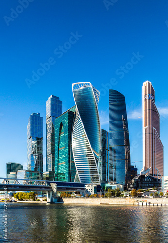 Poster Abou Dabi MOSCOW, RUSSIA - SEPTEMBER 29, 2018: View of the Moscow International Business Center from the quay of Taras Shevchenko, Moscow, Russia