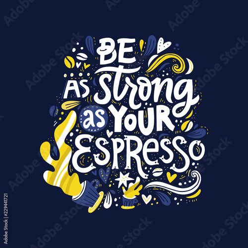 Strong Espresso Lettering Wallpaper Mural