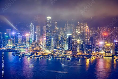 Fototapety, obrazy: Aerial view of illuminated Hong Kong skyline. Hong Kong, China