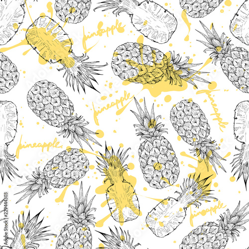 Recess Fitting Graphic Prints Pineapple whole and slices seamless pattern, vector