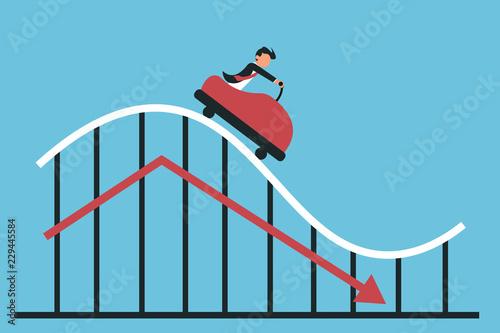Pinturas sobre lienzo  Man riding decreasing chart on blue
