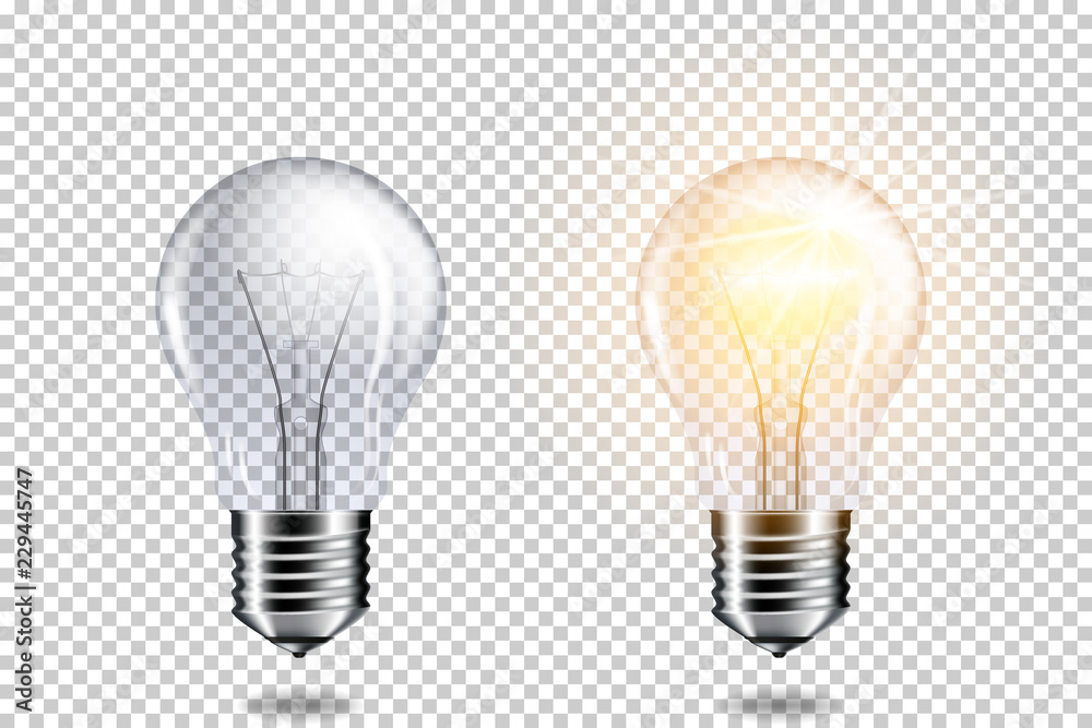 Photo  Transparent realistic light bulb, isolated.