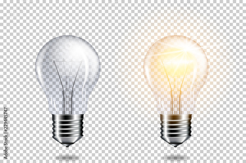 Obraz Transparent realistic light bulb, isolated. - fototapety do salonu