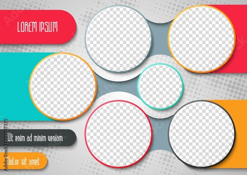 Fototapeta Template for photo collage or infographic in modern style. Frames for clipping masks is in the vector file. Template for a photo album with circle shapes frames obraz