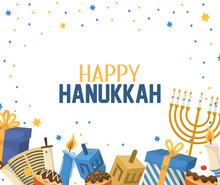 Hanukkah Celebration With Presents And Candles Decoration