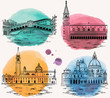 Venice watercolor landmarks and tourist attractions set.