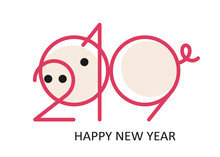 2019 Numbers In The Shape Of A Pig. New Year Template For Calendar Page Or Greeting Card, Flyers, Invitation, Banners Or Typography Poster. Vector Illustration
