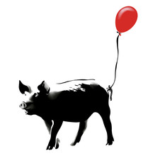 Pig With Red Balloon. Banksy Style. Creative Greeting Card Design For Flyers, Invitation, Posters, Brochure, Banners, Calendar. Hand Drawn Vector Illustration