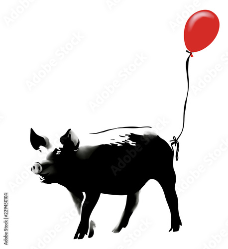 Cuadros en Lienzo Pig with red balloon