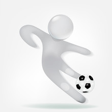 3D White Small People With A Soccer Ball Icon Logo Vector