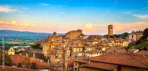 Obraz na plátne Anghiari medieval village panoramic view. Arezzo, Tuscany Italy