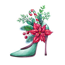 Bouquet Inside Decorated Christmas Shoe, High Heel, Watercolor Illustration, Poinsettia Flower, Floral Decor, Bouquet Inside Boot, Spruce, Conifer Twigs, Fashion Clip Art Isolated On White Background