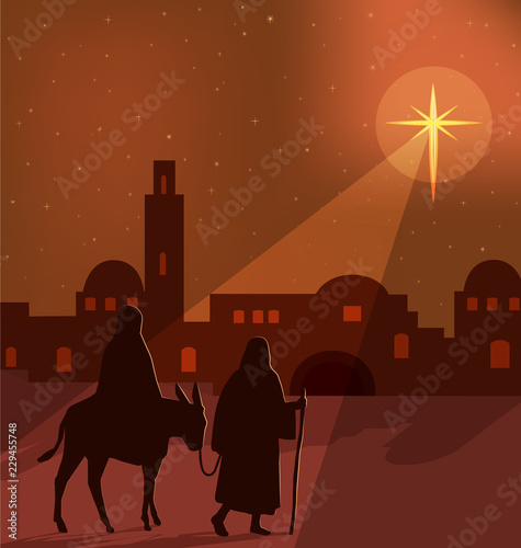 Mary, Joseph and donkey silhouettes on the way to Bethlehem, with a large bright star shining in a orange, golden illuminated night sky, vector illustration Canvas Print