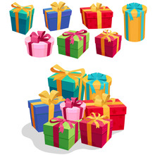Gift Boxes Set With Red Ribbon And Bow. Vector