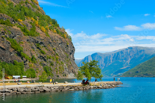 Breathtaking Norwegian fjord and mountain landscapes on Norway in a Nutshell Tour. The landscape of Flam in Norway.