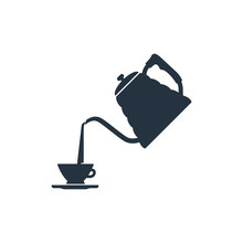 Stainless Steel Kettle With Cup Isolated Icon On White Background, 400 Coffee Set, Logo And Sign