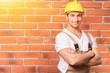 Construction satisfied activity adult artisan belt brick layer