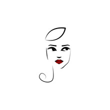Calot Hat, Girl Icon. Element Of Beautiful Girl In A Hat Icon For Mobile Concept And Web Apps. Thin Lin Calot Hat, Girl Icon Can Be Used For Web And Mobile