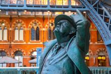 The Betjeman Statue Of Sir John Betjeman At St. Pancras Stationin London, UK