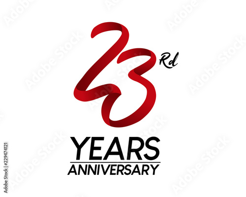 Tela  23 anniversary logo vector red ribbon