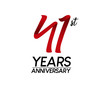 41 anniversary logo vector red ribbon