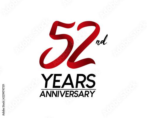 Tela  52 anniversary logo vector red ribbon