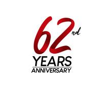 62 Anniversary Logo Vector Red...