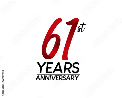Fotografia  61 anniversary logo vector red ribbon