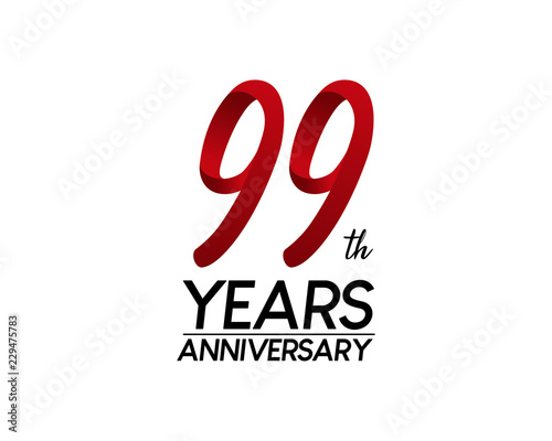 Photographie  99 anniversary logo vector red ribbon