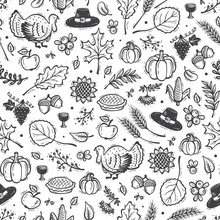 Thanksgiving Vector Background. Autumn Harvest Symbols Seamless Pattern. Hand Drawn Doodle Turkey Bird, Berries, Fruit, Vegetables, Leaves, Ears Of Wheat, Thanksgiving Hat And Pumpkin Pie