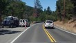 Multiple views of California road construction at different times of day with shadows, full sun and typical traffic management approaches. Different vehicles used in road repair.