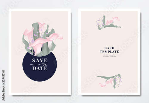 Fotografie, Obraz Botanical wedding invitation card template design, pink calla lily flowers and p