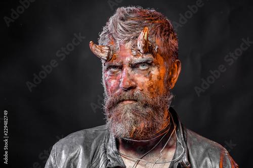 Photo  Halloween man devil on black background