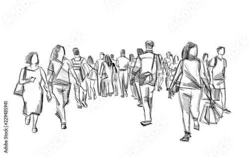 Valokuva crowd of people walking illustration pencil sketch isolated