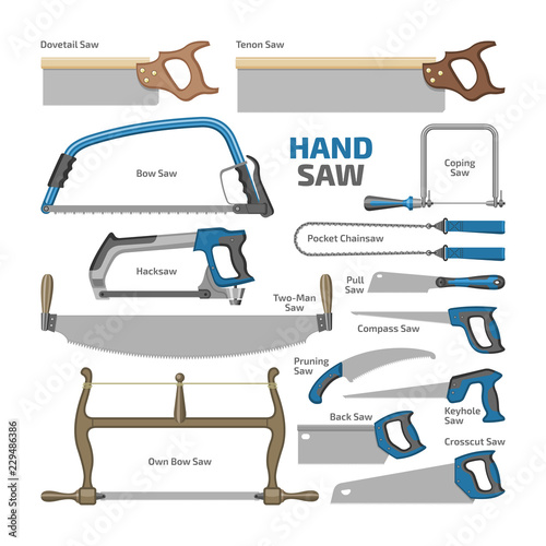 Fototapeta Hand saw vector sawing equipment hacksaw chainsaw and pullsaw carpentry metal to