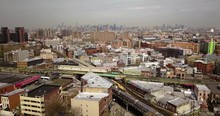 Drone View Of Manhattan And Br...