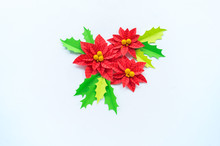Paper Flower Poinsettia And Leaves Of Holly