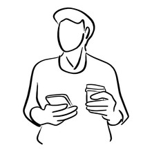 Man Holding Big Takeaway Coffee And Mobile Phone Vector Illustration Sketch Doodle Hand Drawn With Black Lines Isolated On White Background