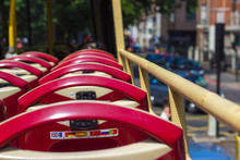 Passenger Seats Open Second Floor In A Red Bus Symbol Of London. On The Background Of The Street