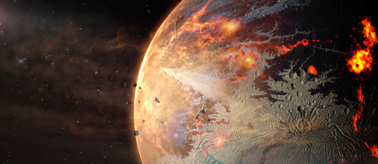 Fototapeta Landscape in fantasy alien hot exoplanet in deep space. Elements of this image furnished by NASA.