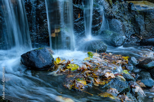 Foto auf Gartenposter Forest river small waterfall rushing down to the rock with piles of fall leaves at the bottom
