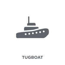 Tugboat Icon From Transportation Collection.
