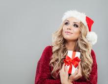 Christmas Woman In Santa Hat W...