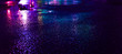 canvas print picture Background of wet asphalt with neon light. Blurred background, night lights of a big city, reflection, puddles. Dark neon bokeh.