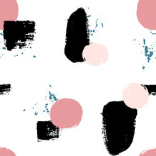 Hand Drawn Seamles Pattern With Textured Circles. Uneven Polka Dot Design, Vector Illustration.