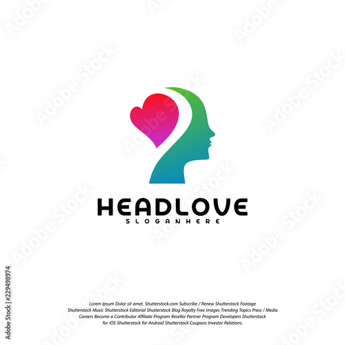 Head love logo vector, Head intelligence logo designs concept vector Wall mural