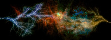 Landscape Background Of Fantasy Alien Galaxy With Glowing Clouds, Stars And Two Huge Lightening Bolts From The Opposite Directions.