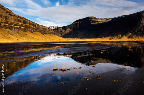 Beautiful Iceland landscape. Wonderful Icelandic landscape. Hills, mountains and dramatic sky.