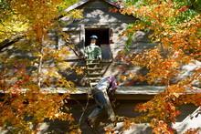 Old Wood Farm Barn Has Halloween Characters On The Roof