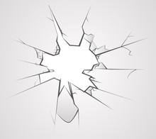 Broken Glass Hole Cracks Transperent Background Vector Illustration